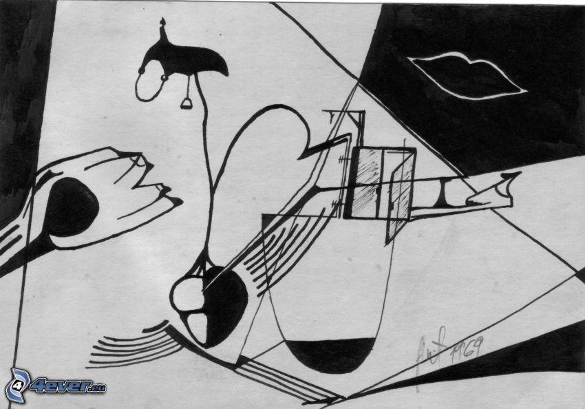 czarno-białe, usta, okno, abstrakcyjne