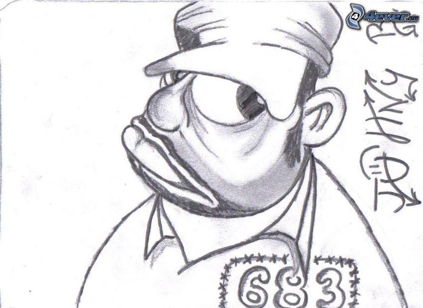 gangster, podpis, rysowane