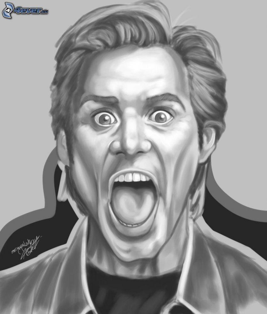 Jim Carrey, krzyk, rysunek