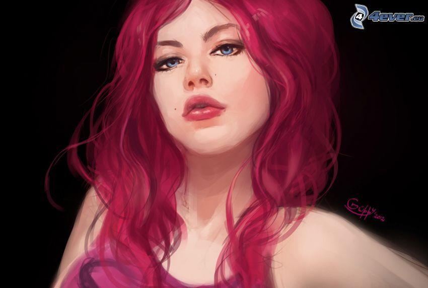 kobieta narysowana, różowe włosy
