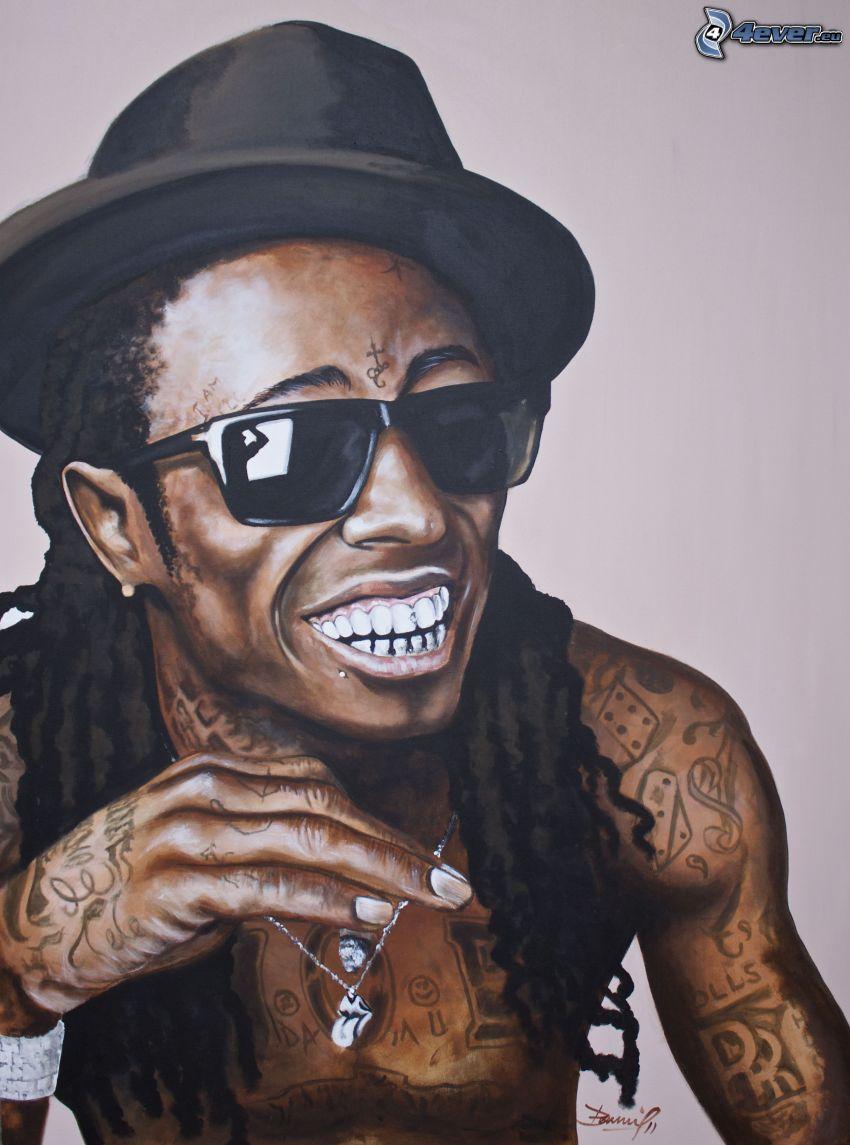 Lil Wayne, śmiech, mężczyzna w okularach, kapelusz