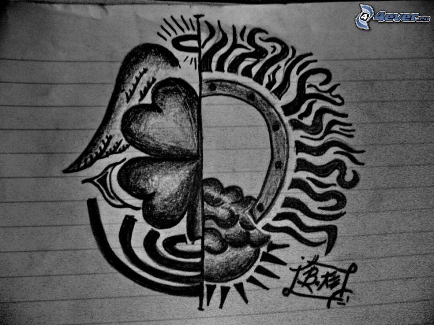 narysowany symbol, rysunkowe serca, zeszyt