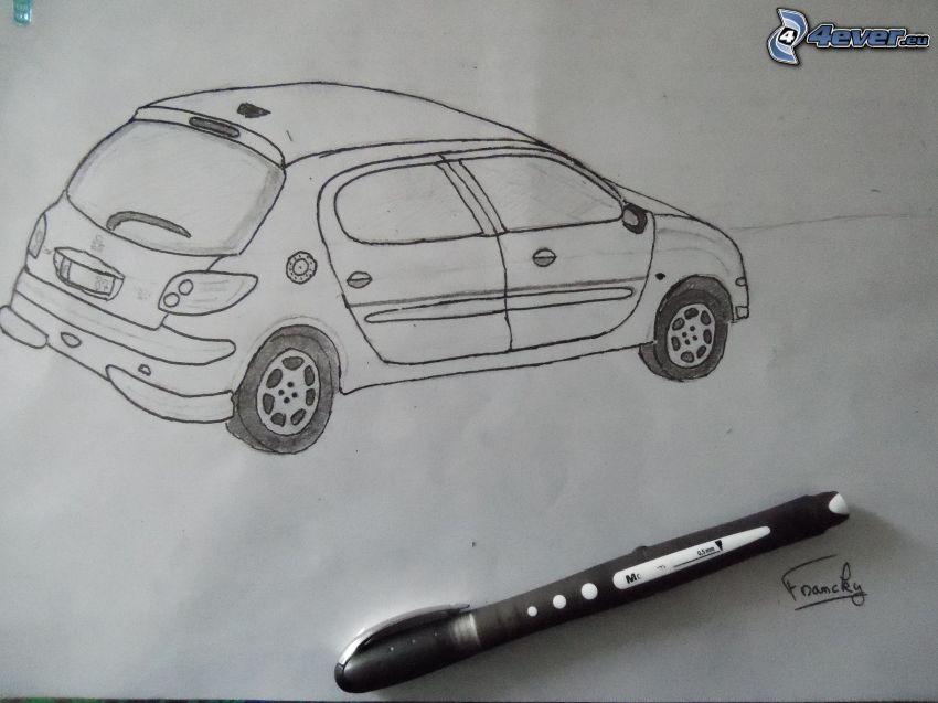 Peugeot, rysowany samochód, pióro