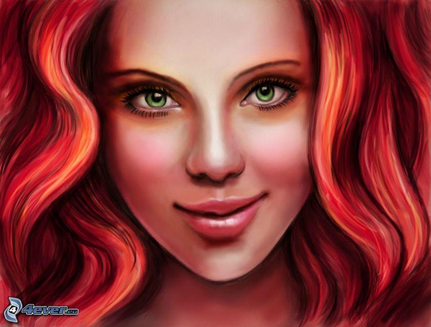 piękna twarz kobiety, rysowana twarz, rudowłosa