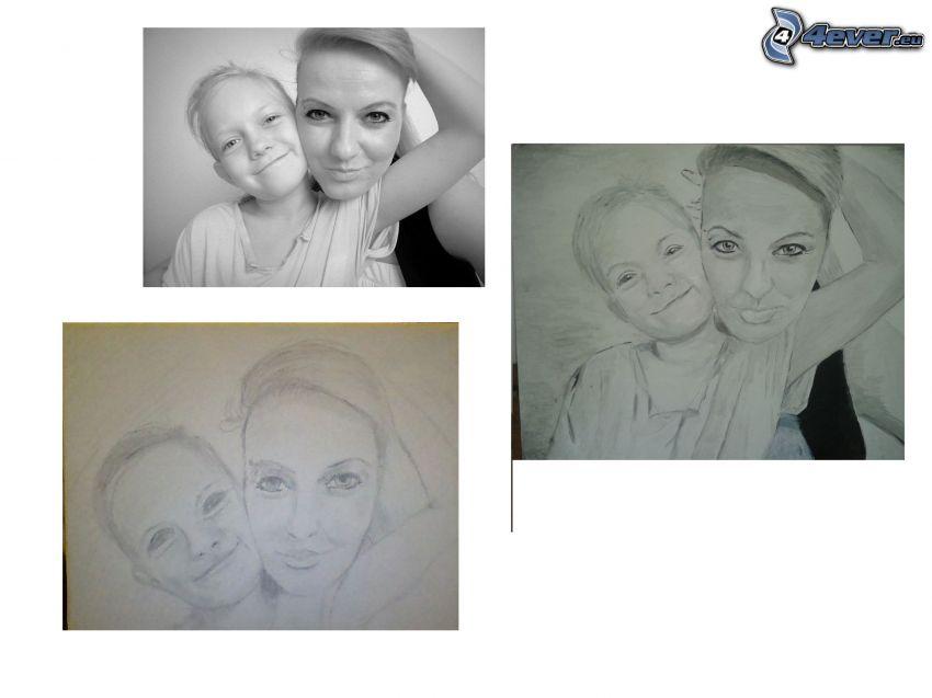 portret, dziecko z matką