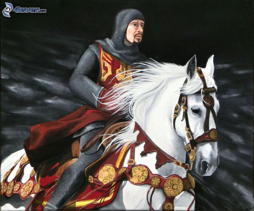 rycerz, biały koń