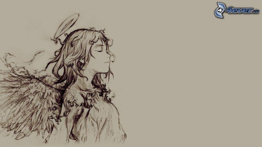 rysowana dziewczynka, rysowany anioł, aureola
