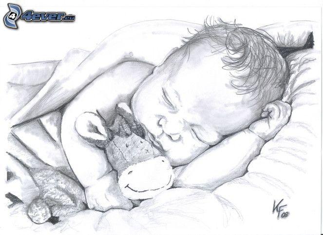 rysunek dziecka, śpiące dziecko, pluszowa zabawka