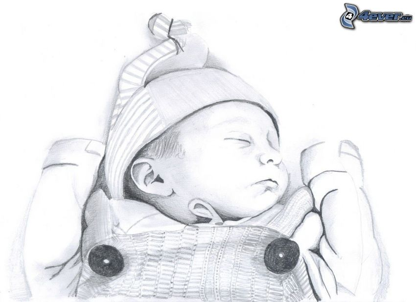 rysunek dziecka, śpiące dziecko