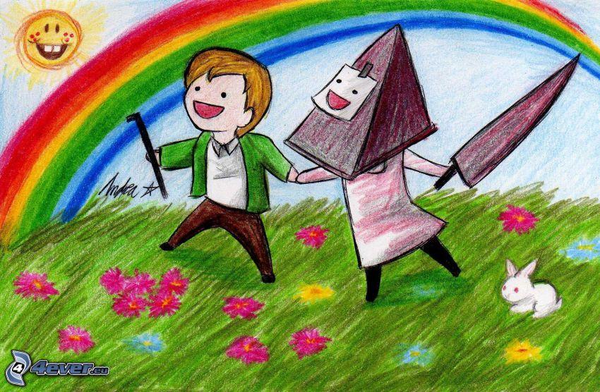 rysunkowe dzieci, łąka, kolorowa tęcza