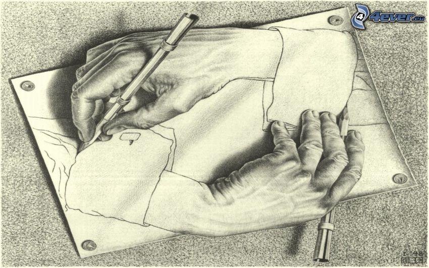 rysunkowe ręce, złudzenie optyczne