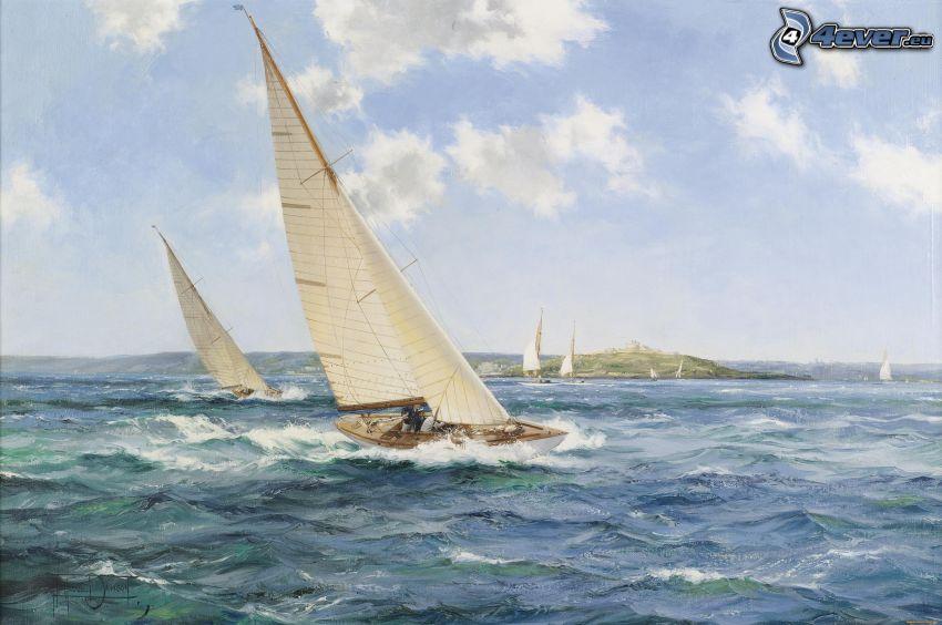 żaglowce, morze, wyspa
