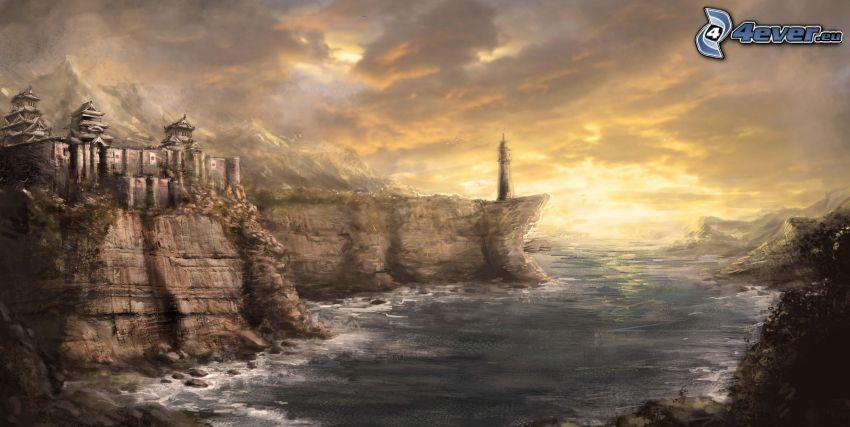 zatoczka, skały, fantazyjny zamek, latarnia nad urwiskiem