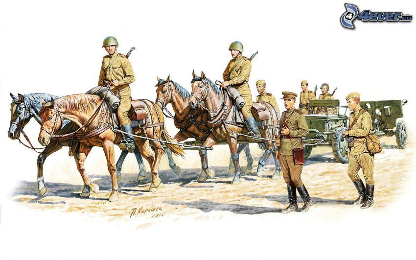 żołnierze, brązowe konie