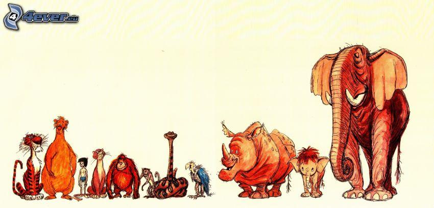 zwierzęta, tygrys, małpa, wąż, struś, nosorożec, mamut
