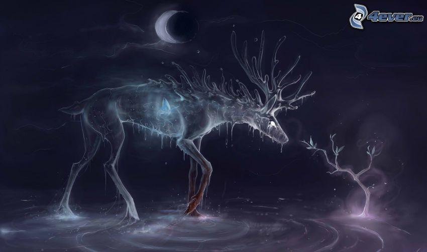 renifer, drzewo, księżyc, noc
