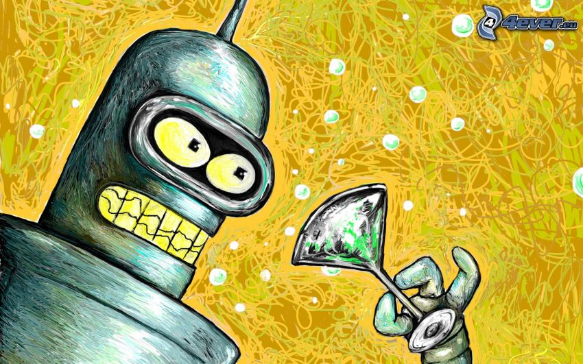 robot, Futurama, szklaneczka