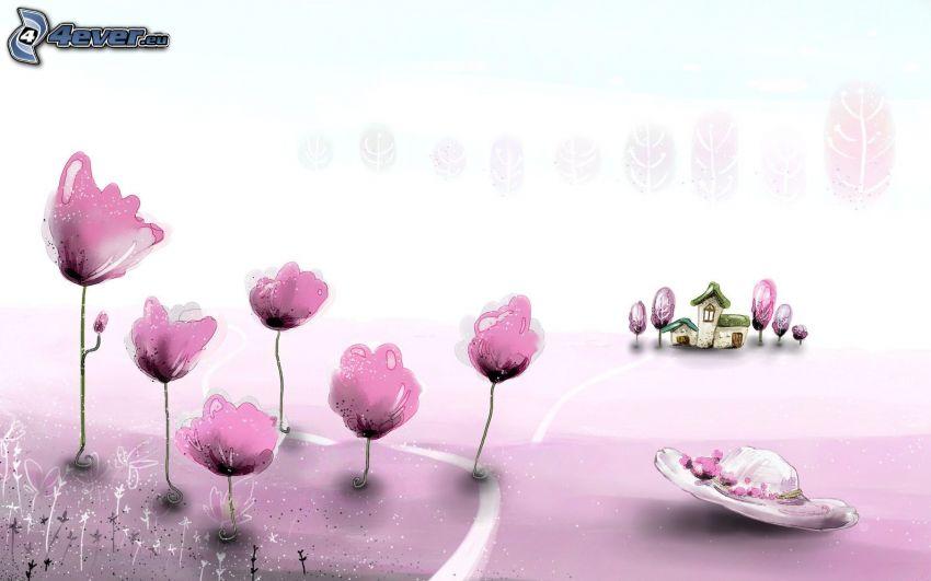 różowe kwiaty, kapelusz, domek