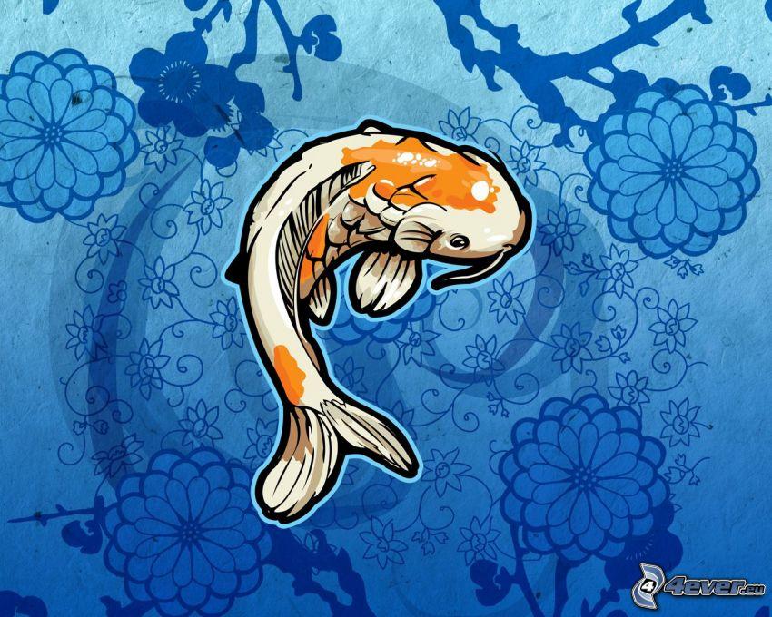 ryba, rysunkowe, kwiaty