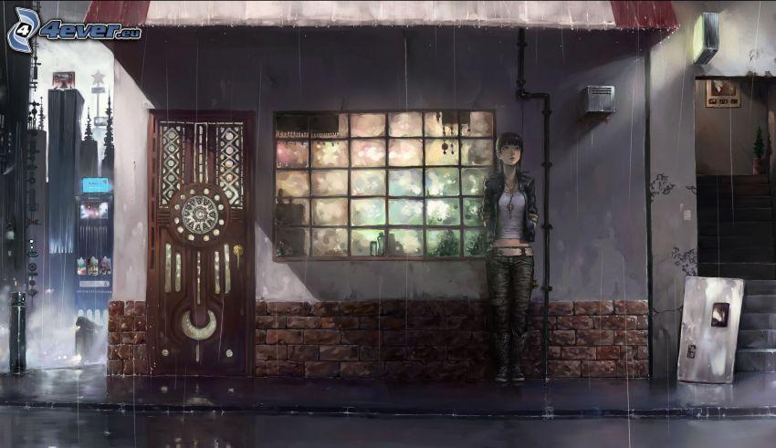 rysowana dziewczynka, dom, ulica, deszcz