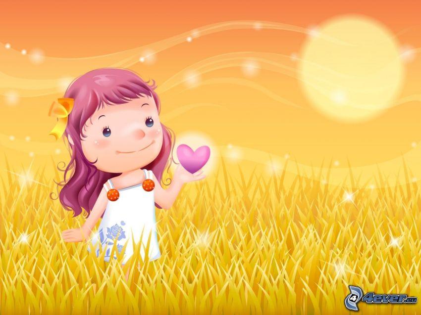 rysowana dziewczynka, fioletowe serduszka