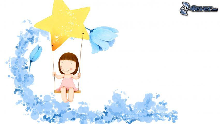 rysowana dziewczynka, huśtawka, gwiazda