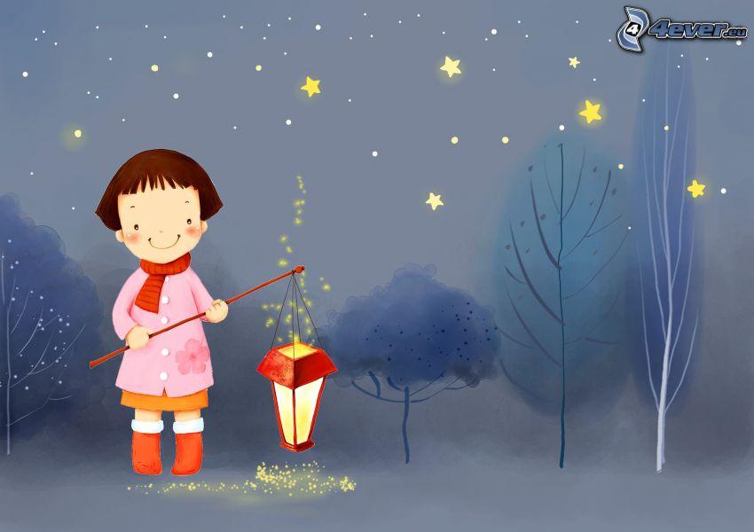 rysowana dziewczynka, latarnia, gwiazdki
