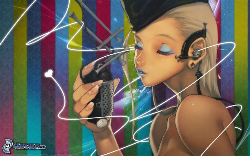 rysowana dziewczynka, mikrofon, kolorowe linie