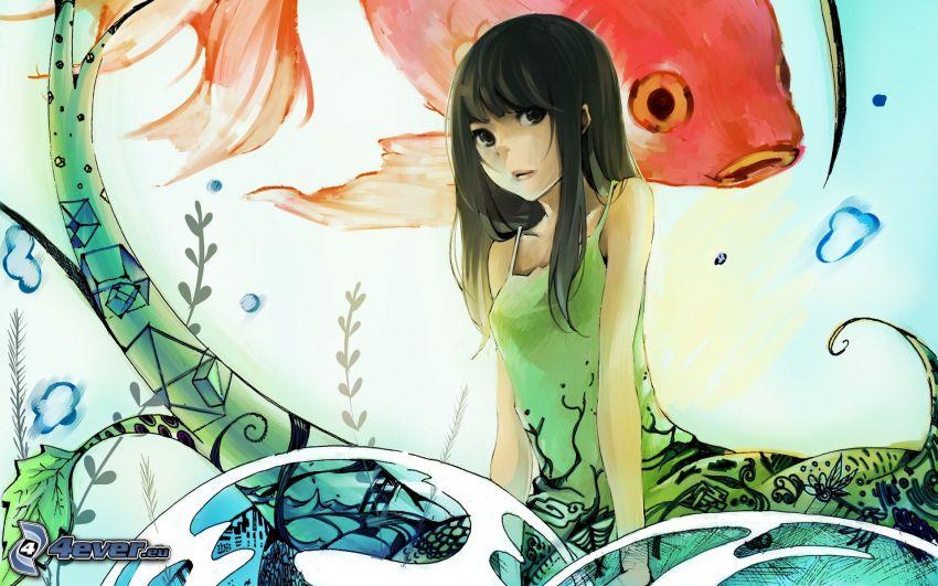 rysowana dziewczynka, ryba