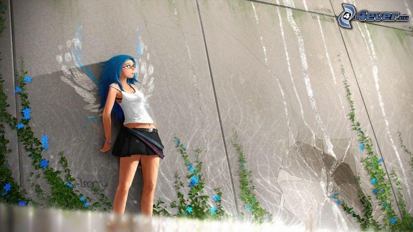 rysowana dziewczynka, ściana, niebieskie włosy