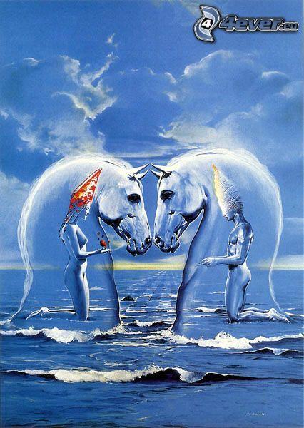 rysowana para, koń rysowany, bańka, morze