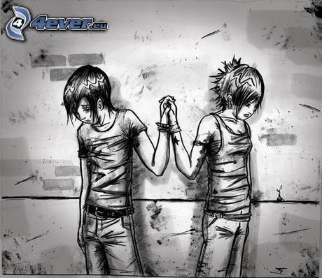 rysowana para, rozłączenie, trzymanie się za ręce
