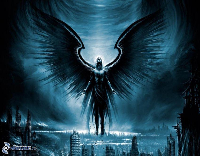 rysowany anioł, czarne skrzydła