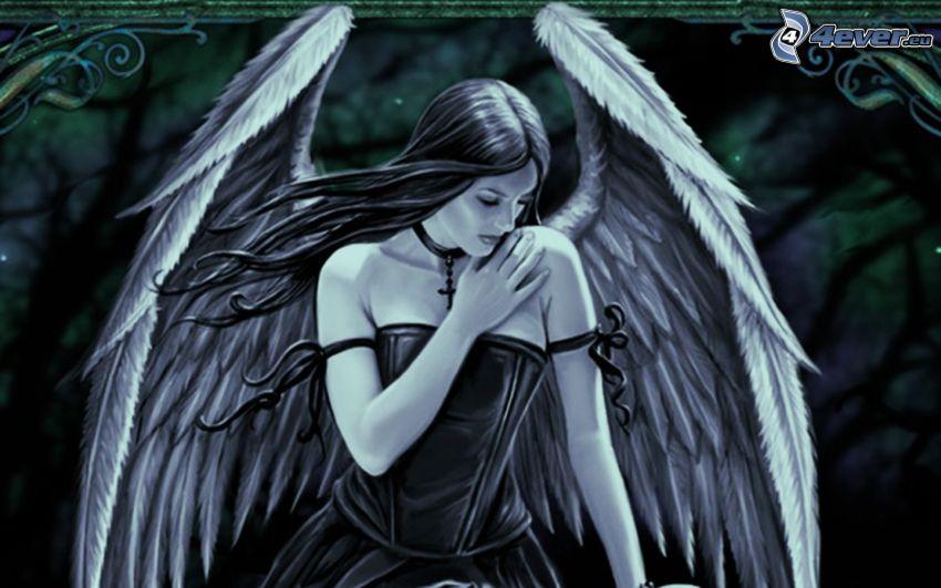 rysowany anioł, kobieta narysowana