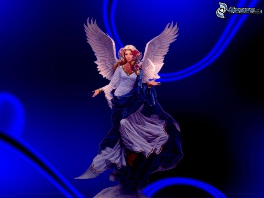 rysowany anioł, kobieta ze skrzydłami