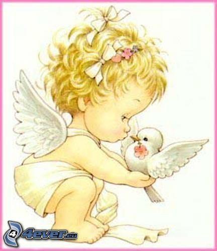 rysowany anioł, rysunek dziecka, gołębica