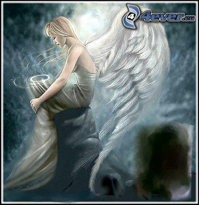 rysowany anioł, upadły anioł, aureola, białe skrzydła
