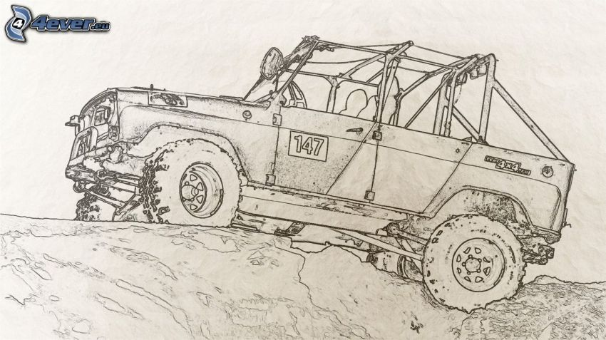 rysowany samochód, Jeep