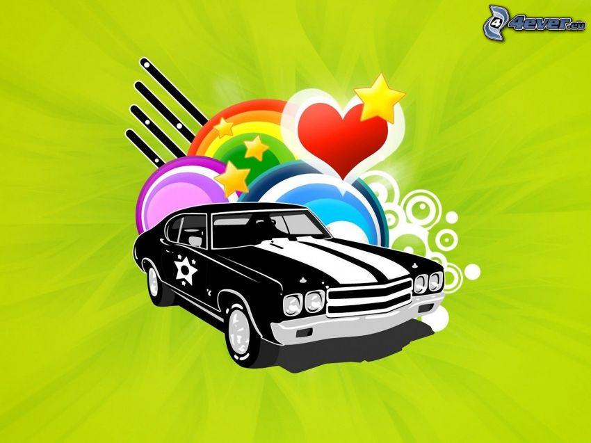 rysowany samochód, serduszko, gwiazdki