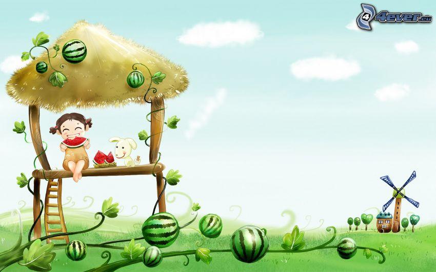 rysunek dziecka, rysunkowy pies, drzewostan, arbuzy, młyn, rysunkowy dom
