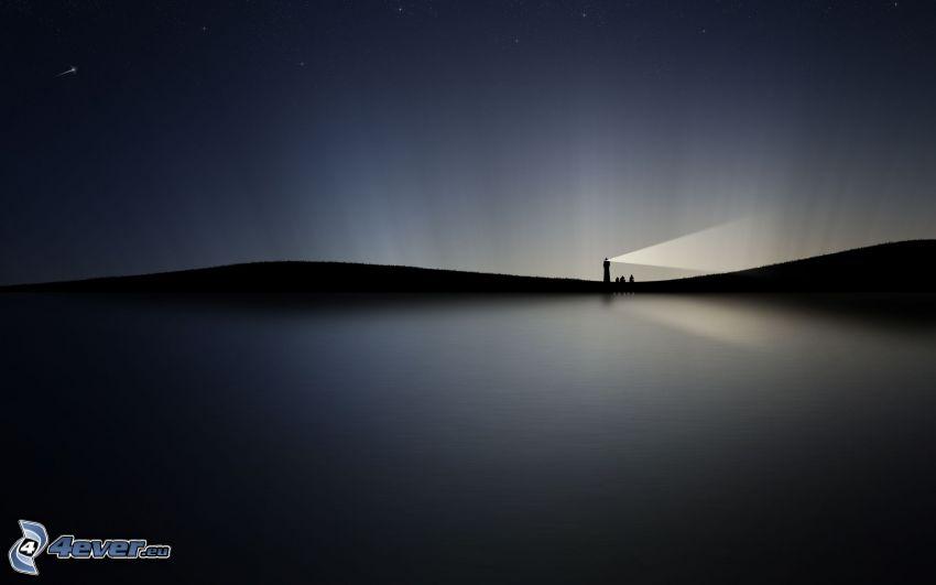 rysunkowa latarnia, morze, horyzont