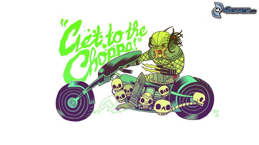 rysunkowa postać, chopper, czaszki