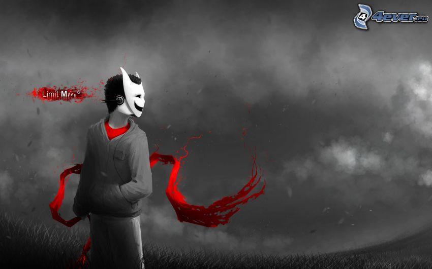 rysunkowa postać, maska