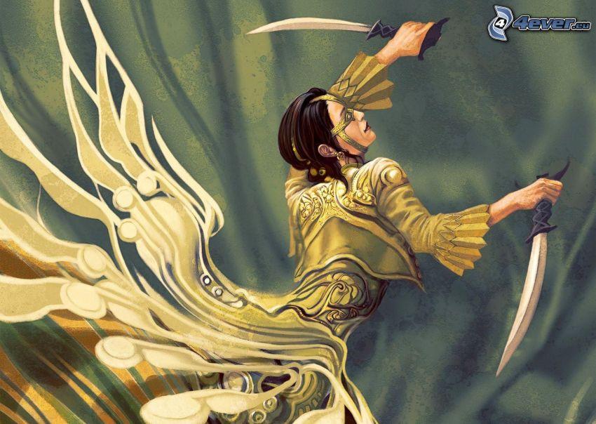 rysunkowa postać, miecze