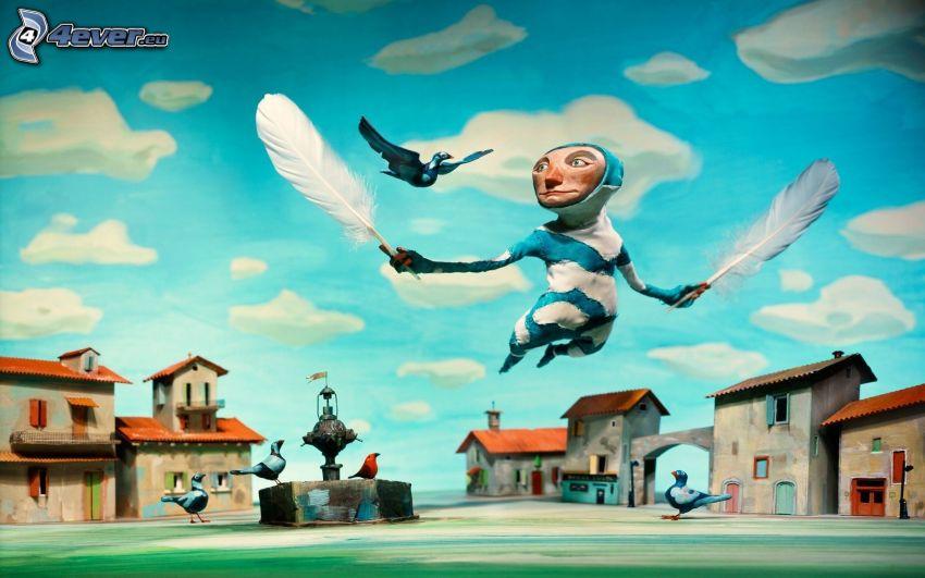 rysunkowa postać, piórka, lot, gołębie, domy