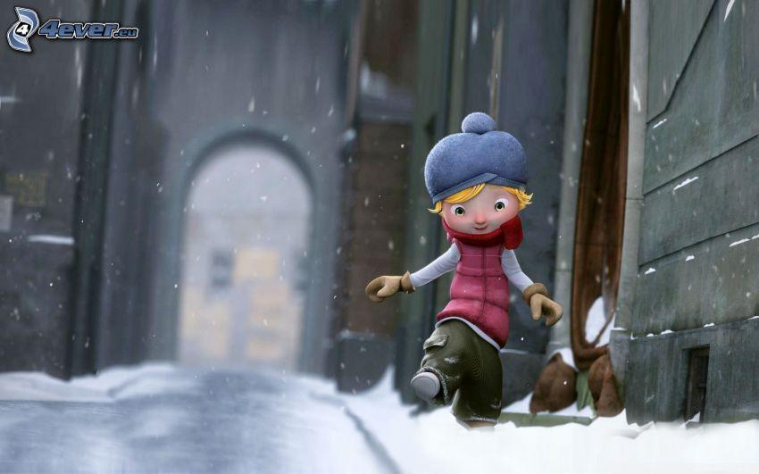 rysunkowa postać, zaśnieżona ulica