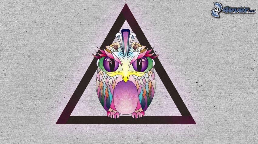 rysunkowa sowa, trójkąt