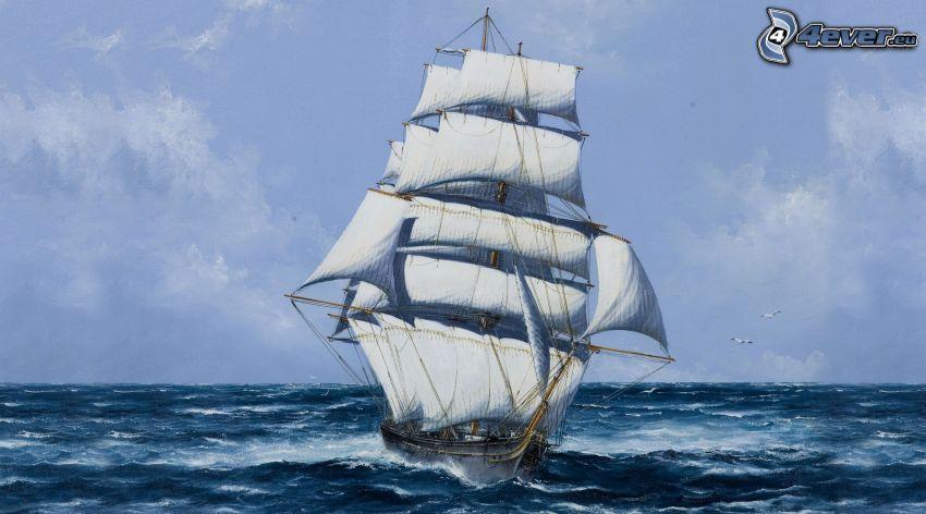 rysunkowa żaglówka, morze
