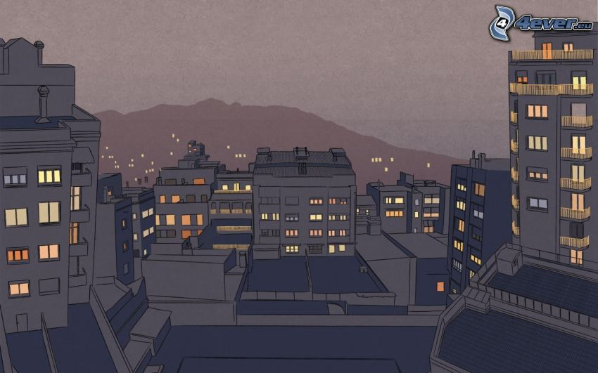 rysunkowe miasto, miasto nocą