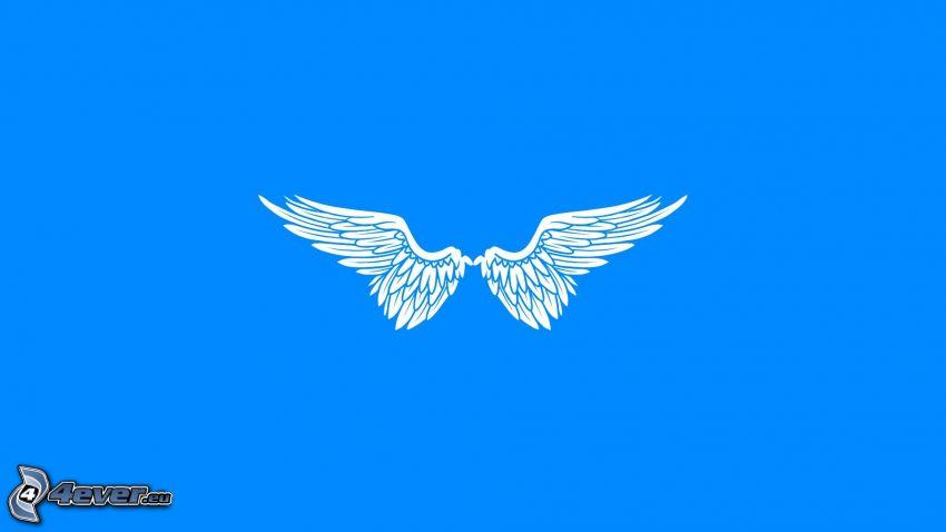 rysunkowe skrzydła, niebieskie tło